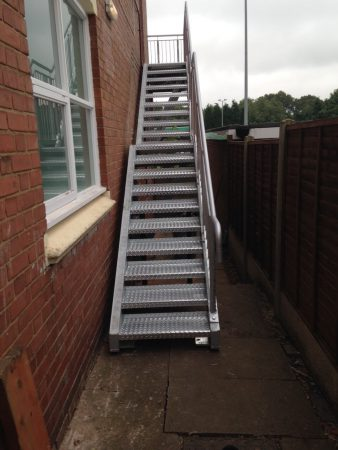 Steel Fire Escape Stairs & Landing Manufactured & Installed to CE Mark 1090 Execution Class-2